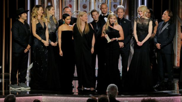 "Reese Witherspoon holds the award for Best Television Limited Series or Motion Picture Made for Television for ""Big Little Lies"", HBO, at the 75th Golden Globe Awards in Beverly Hills"