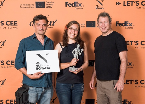 Danny Lerner Award for the Best Feature Film IVAN by Janez Burger, in picture CEO Nu Boyana Yariv Lerner and actor Leon Lucev_Credit Danel Auer-LETSCEE-m